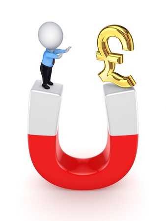 pound sterling: 3d small person and pound sterling on a horseshoe