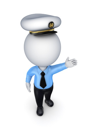 mariner: 3d small person in a seaman s cap  Stock Photo