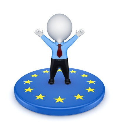 European Union symbol and happy 3d small person  photo