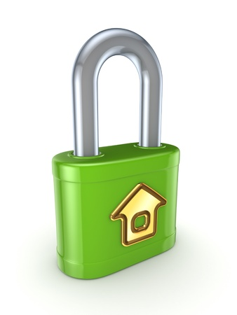 Green lock with golden home symbhol  Stock Photo - 15533542