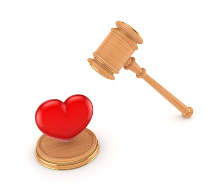 Red heart and wooden hammer