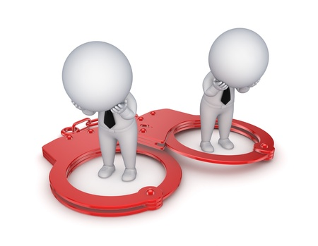 Sad 3d small people, handcuff and red sand glass Stock Photo - 15534107