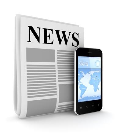 gazette: Stylized newspaper and modern mobile phone