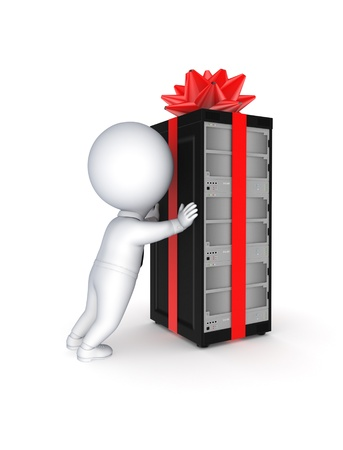 renderfarm: Server decorated with a red bow and ribbon