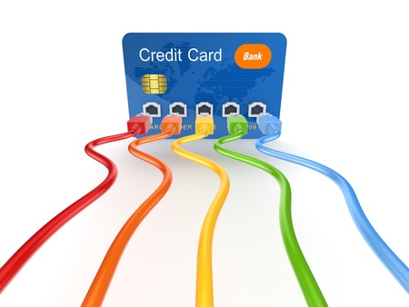 Colorful patchcords connected to credit card  Stock Photo - 15534953