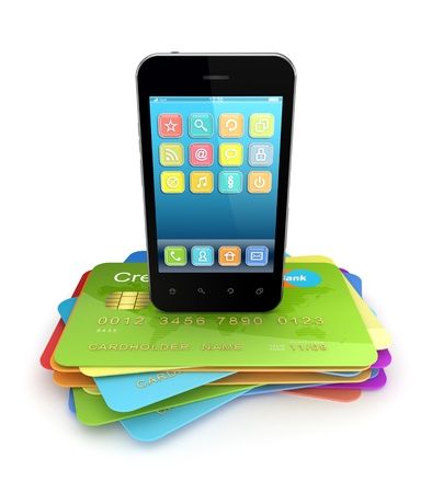 mobile banking: Modern mobile phone on a colorful credit cards