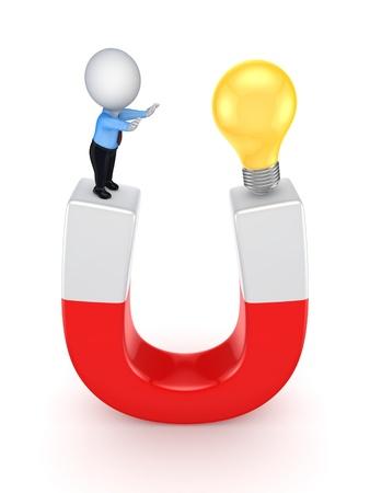 3d small person and idea symbol on a horseshoe  photo