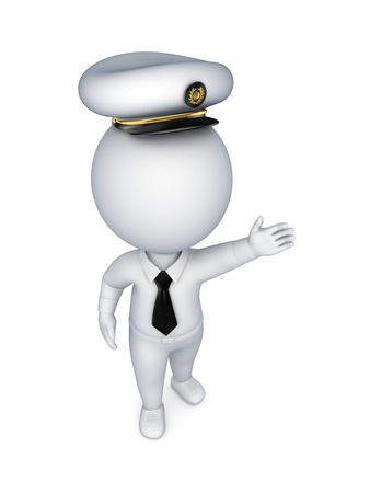 captain: 3d small person in a seaman s cap  Stock Photo