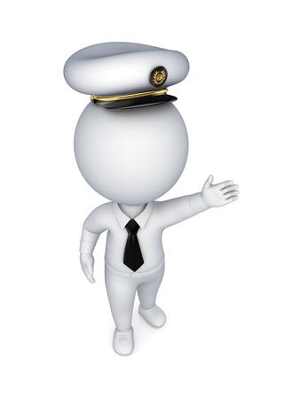 autoridad: Persona 3d peque�a con una gorra de marinero s Foto de archivo