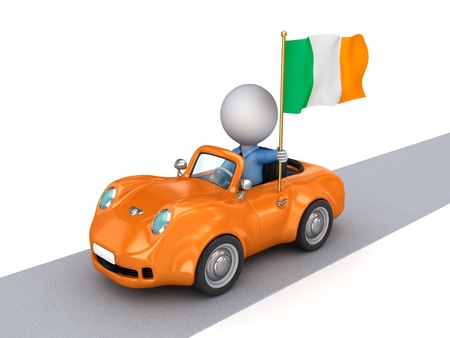 3d small person on orange car with Hungarian flag  photo