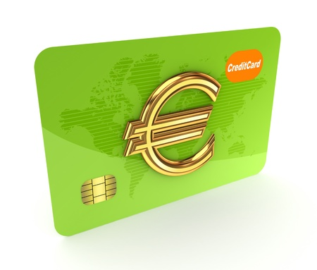Credit card and euro sign  photo