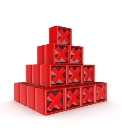 Pyramid of red cross marks  Stock Photo - 15535135