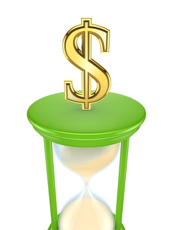 Dollar sign on a green sand glass Stock Photo - 15533895