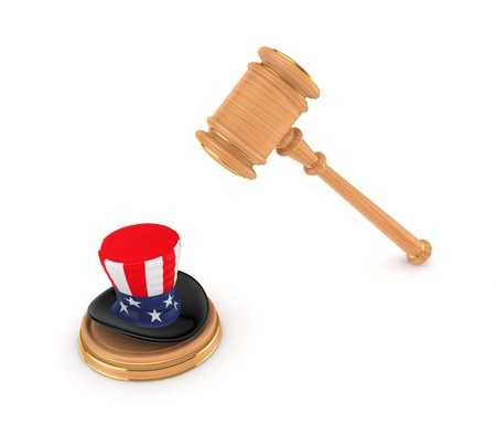 arbitrate: Wooden hammer and Unkle Sam s hat  Stock Photo