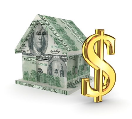 Golden dollar sign and small house Stock Photo - 15536269