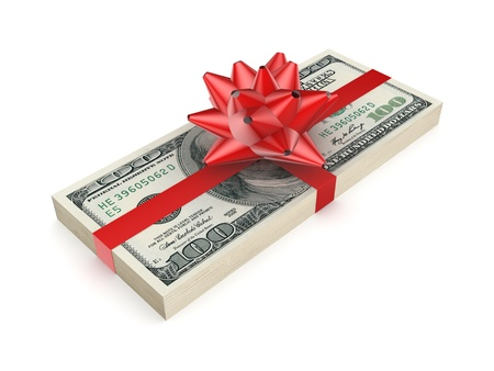 christmas debt: Pack of dollars decorated with a red ribbon