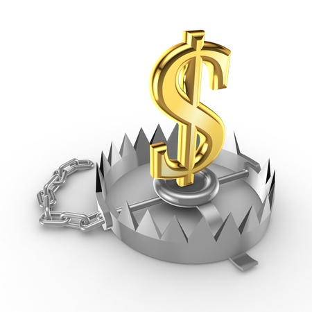 Golden dollar sign on a trap  Stock Photo - 15535686