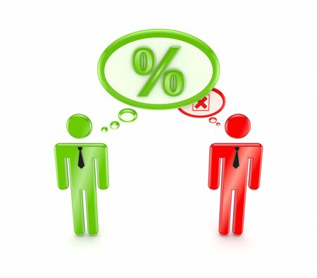 3d small people with percents symbol and red cross mark Stock Photo - 15534215