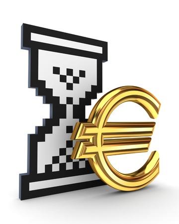Sandglass icon and dollar sign  photo