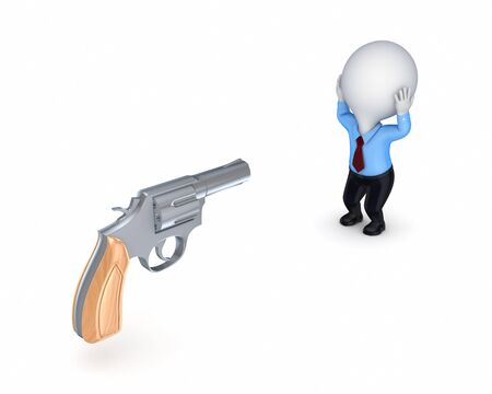 Revolver and stressed 3d small person  photo