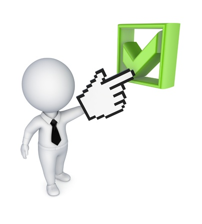 3d small person pointing to tick mark Stock Photo - 15534109