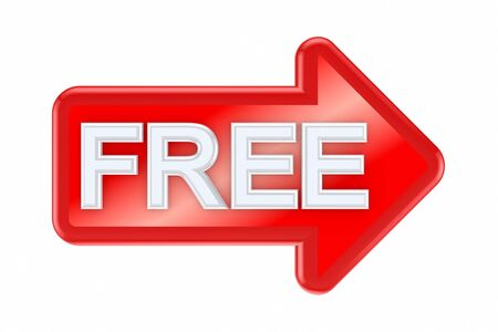 free offer: Red arrow with a word FREE
