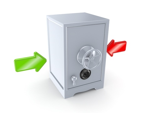 Red and green arrow and iron safe  Stock Photo - 15533992