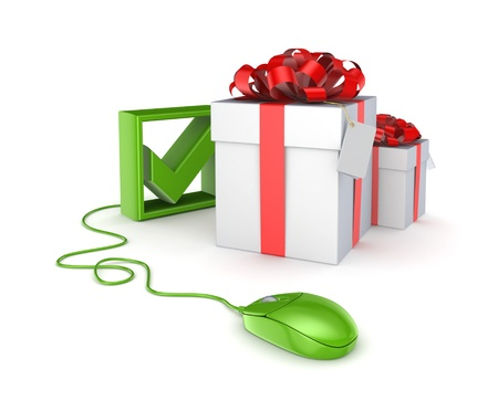 Green mouse, tick mark and gift boxes  Stock Photo