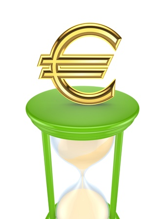 Euro sign on a green sand glass  Stock Photo - 15534113