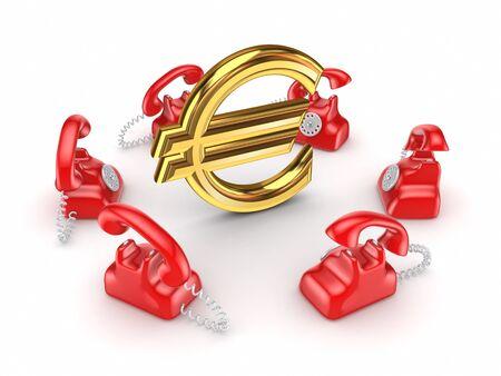 Retro telephones around golden euro sign Stock Photo - 15535161