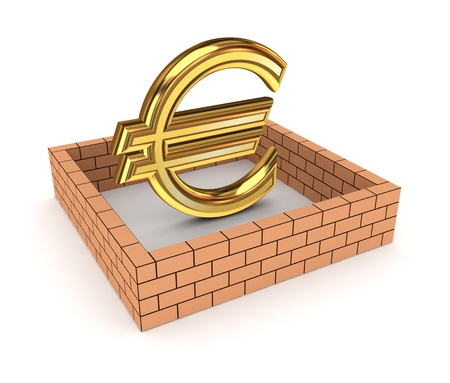 financial obstacle: Euro sign behind brick wall  Stock Photo
