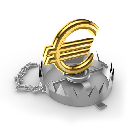 Golden euro sign on a trap Stock Photo - 15536024