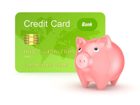 Credit card and pink piggy bank  photo