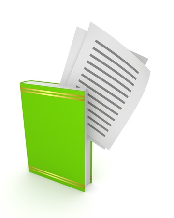 Text documents in a green book Stock Photo - 15534236