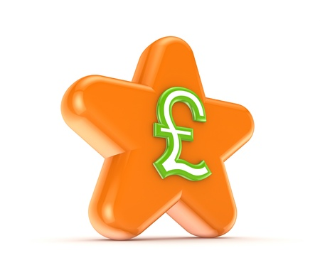pound sterling: Orange star with a green pound sterling sign  Stock Photo