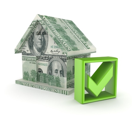 Small house made of dollars and green tick mark  photo