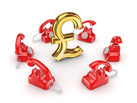 Retro telephones around golden pound sterling  Stock Photo - 15535145