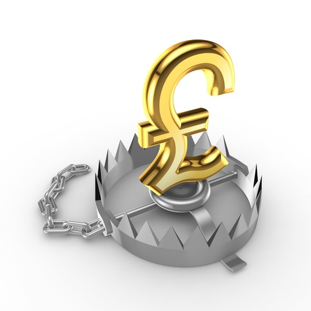 Golden pound sterling sign on a trap Stock Photo - 15535683
