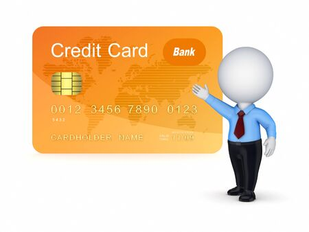 3d small person and credit card  Stock Photo - 15534247