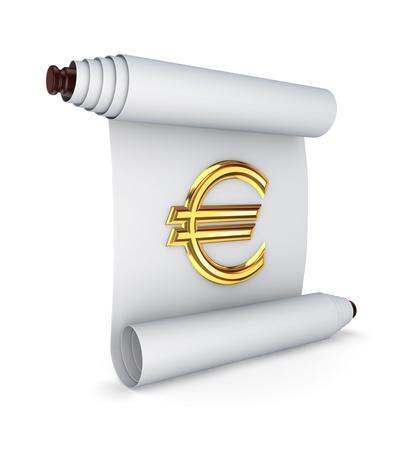 edict: Antiguo pergamino con un signo de euro