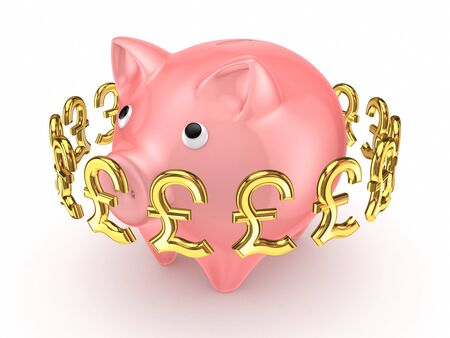 Pound sterling signs around pink piggy bank  photo