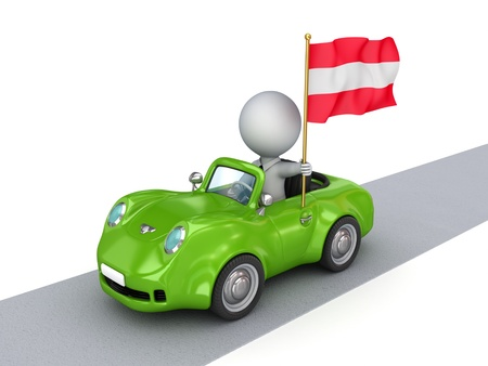austrian flag: 3d small person on orange car with Austrian flag