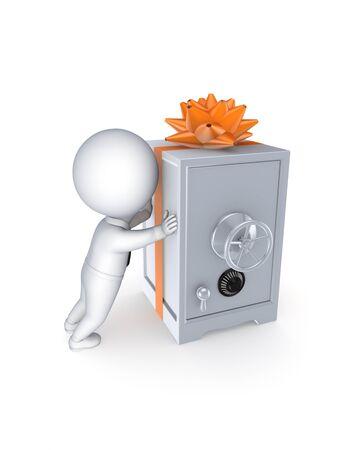 Carton box decorated with a green ribbon Stock Photo - 15533599