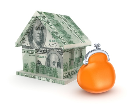 Small house made of money and orange purse Stock Photo - 15536369