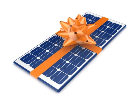 solarcell: Solar battery decorated with an orange ribbon  Stock Photo