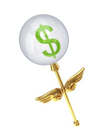 miraculous: Magic wand with dollar sign