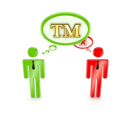 tm: 3d small people with TM symbol and red cross mark