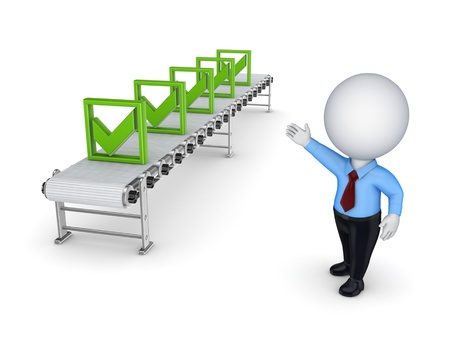 3d small person points to the conveyor with green tick marks