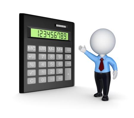 Calculator and 3d small person  photo