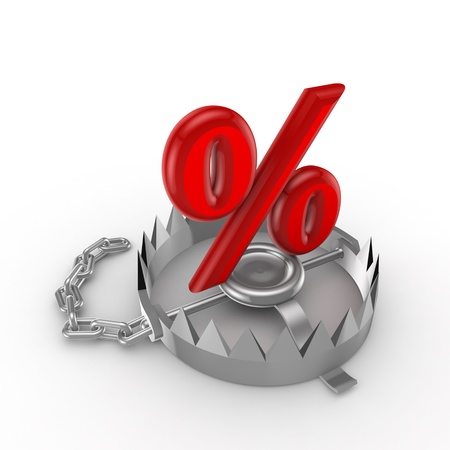diversified: Percent symbol on a trap